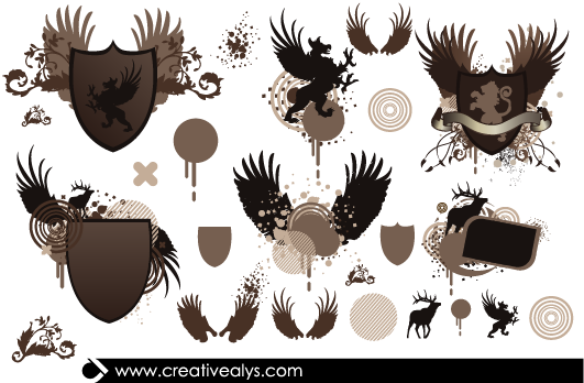 Free Heraldic Shield Pack with Animals & Wings