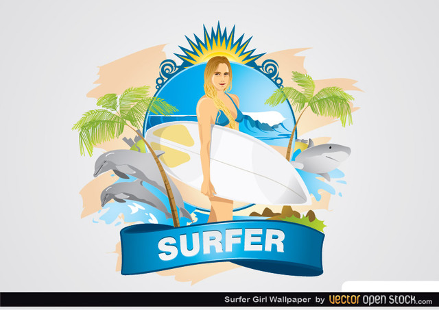 Free Surfer Girl Wallpaper