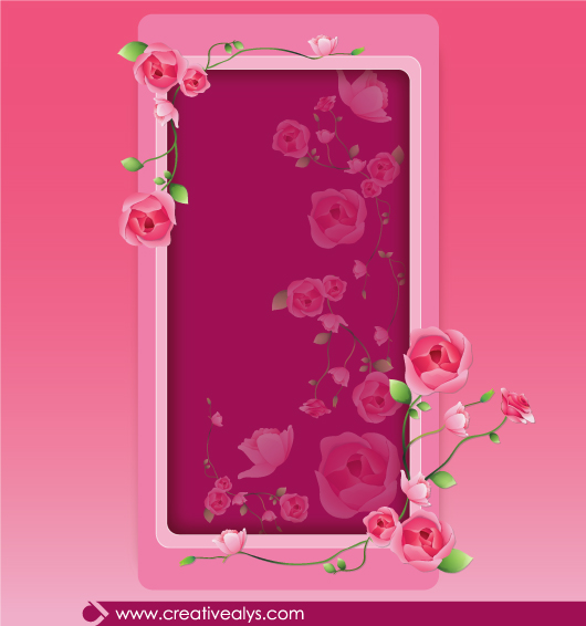 Free Beautiful Pinkish Rose Floral Frame