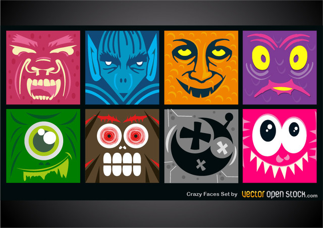 Free Vectors: Crazy Faces Set | Vector Open Stock