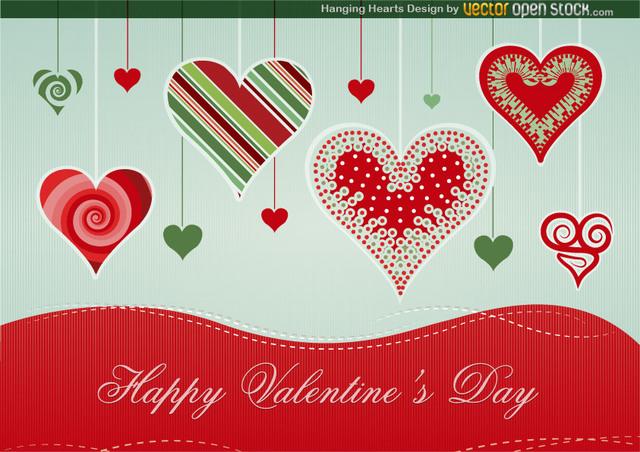 Free Vectors: Hanging Hearts Design | Vector Open Stock