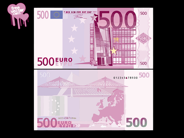 Free Front & Back Side of 500 Euro Banknote