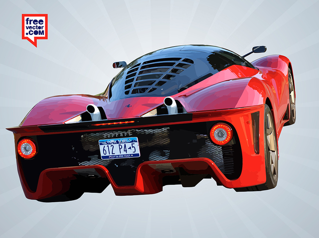Free Glossy Red Ferrari Rear Car