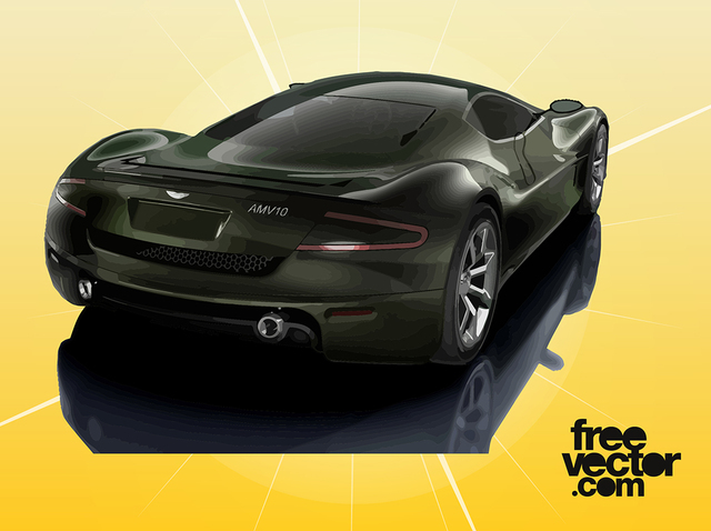Free Black Aston Martin AMV10 Car