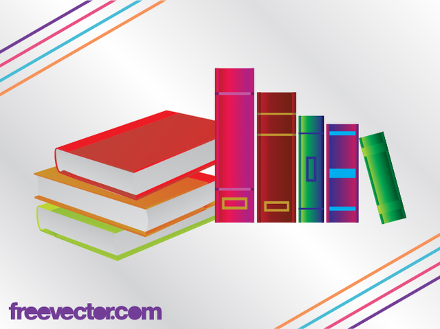 Free Vectors: 3D Colorful Books with Blank Cover | Free Vector