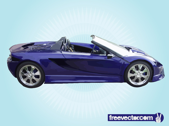 Free Blue Convertible Luxury Racing Car