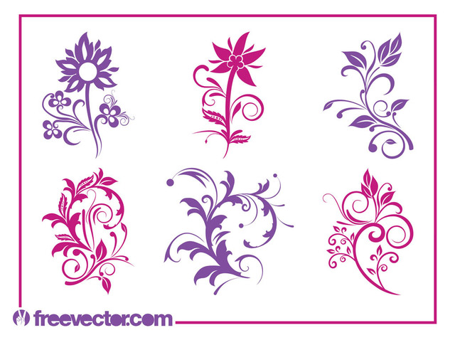 Free Vectors: Blooming Flower Pack Silhouettes | Free Vector
