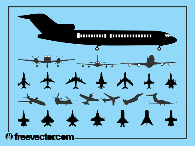 Free Vectors: Flying Aircraft Pack Silhouette | Free Vector