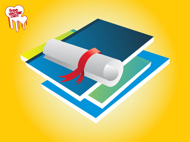 Free Vectors: 3D Piled Books and Scrolled Paper | Free Vector