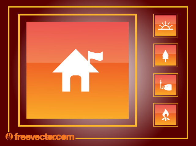 Free Square Orangey Camping Icon Pack