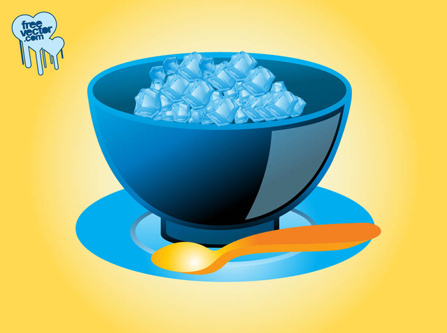 Free Ice Cubes with Bowl in 3D Style