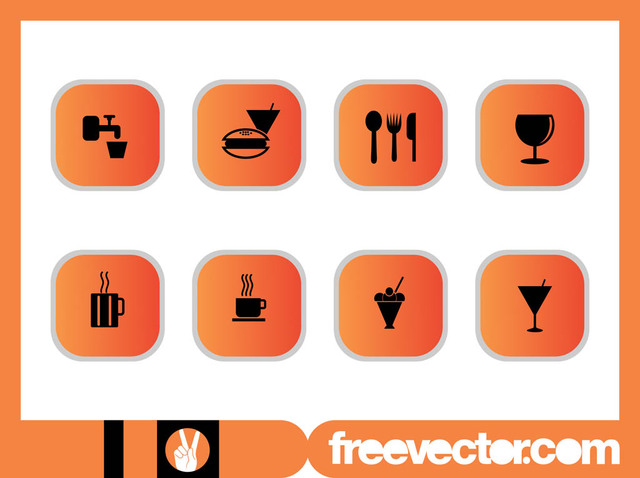 Free Vectors: Food & Drinks Icon Pack | Free Vector