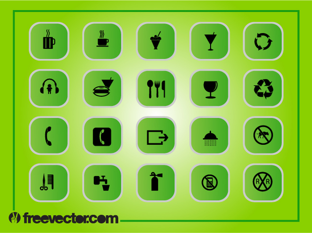 Free Green Square Flat Icon Pack