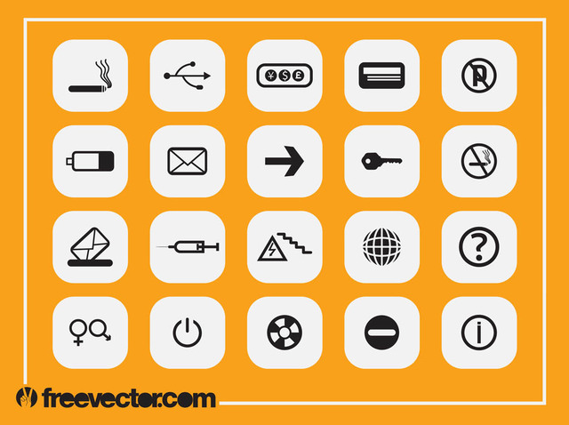 Free Black & White Flat Icon Pack