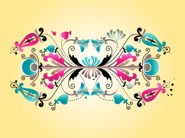 Free Vectors: Floral Decorative Symmetrical Scrolls | PeHaa