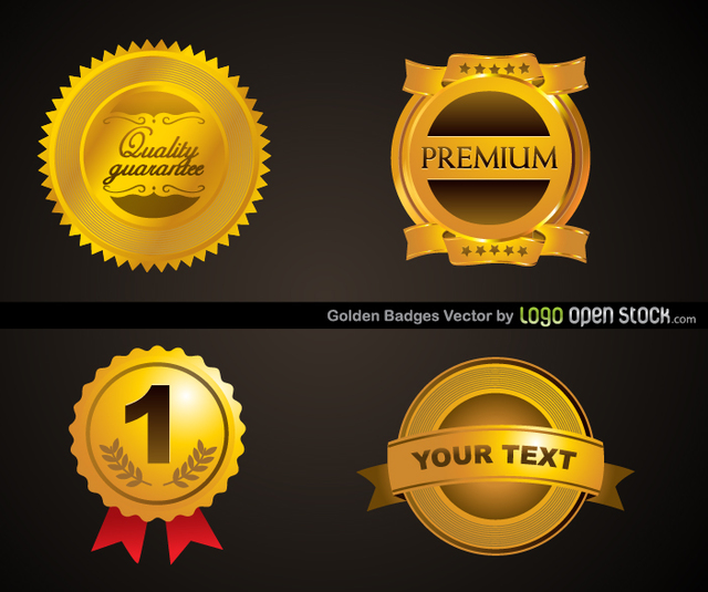 Free Four Golden Badges Template