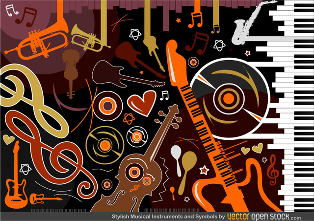 Free Stylish Musical Instruments and Symbols