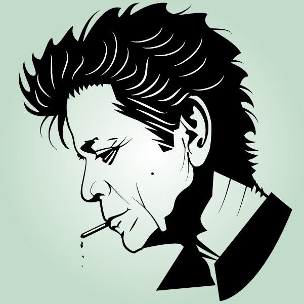 Free Artistic Black & White Head of Lou Reed