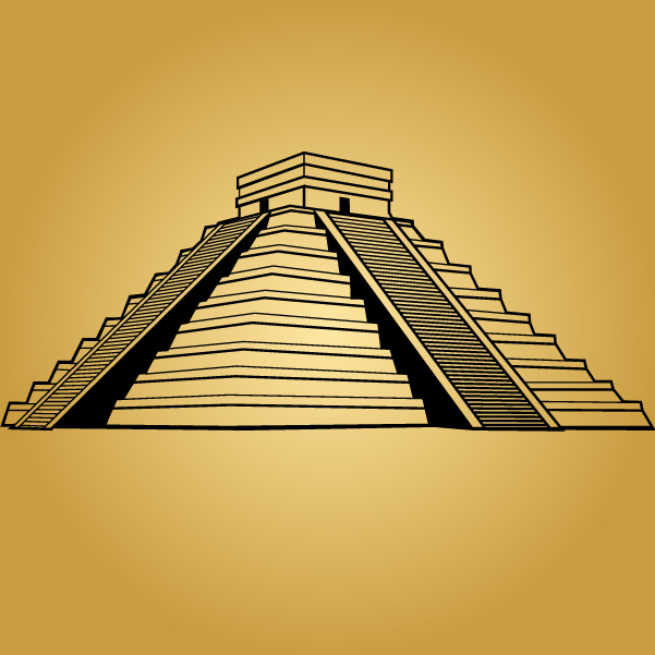 Free Black & White Mayan Pyramid