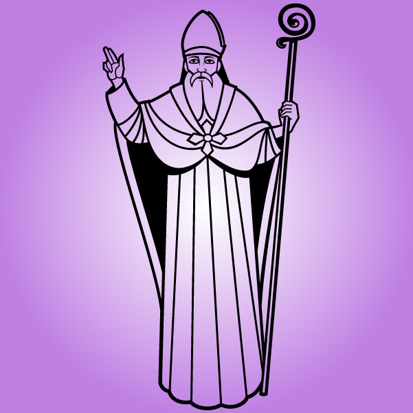 Free Line Art Black or White Saint Nicholas