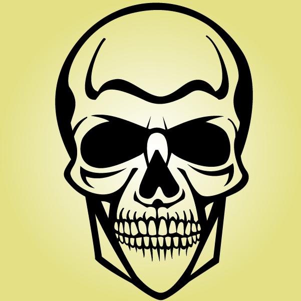 Free Black & White Human Cranium