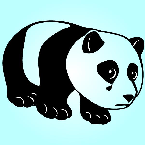 Free Black & White Funky Sad Panda