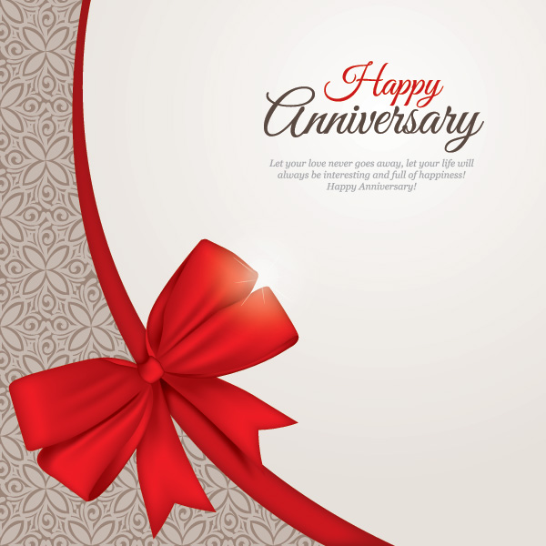 Free Floral Pattern Anniversary Card with Ribbon