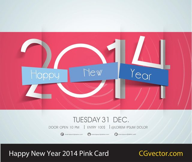 Free Happy New Year 2014 Pink Card