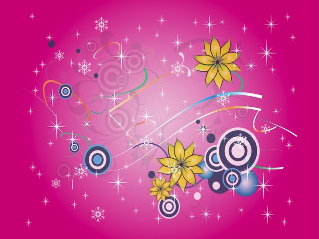 Free Colorful Snowy Floral & Starry Background