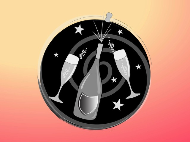 Free Funky Celebration Icon with Champagne & Glass