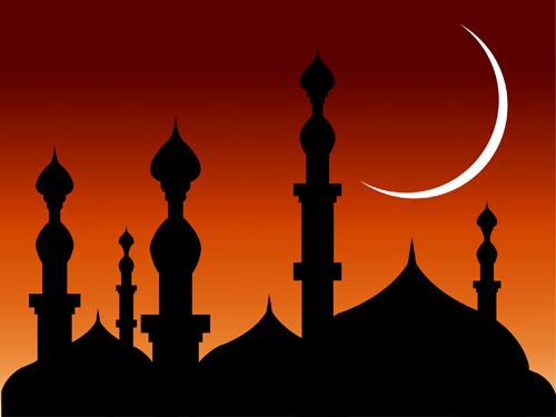 Free Mosque over Bright Reddish Sky