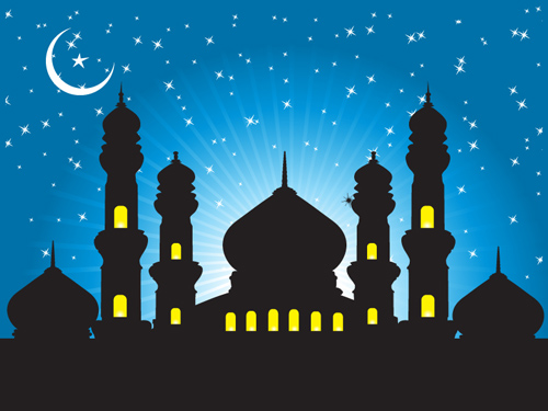 Free Mosque Background with Starry Blue Sky