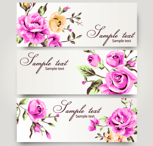 Free 3 Romantic Banners with Roses