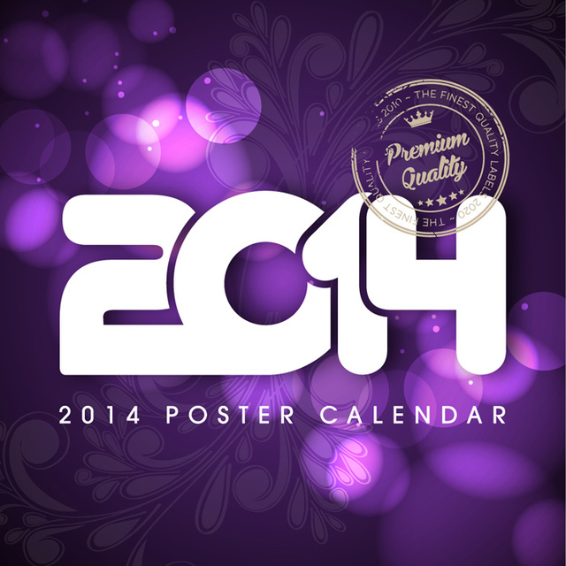 Free 2014 Poster with Floral & Lights
