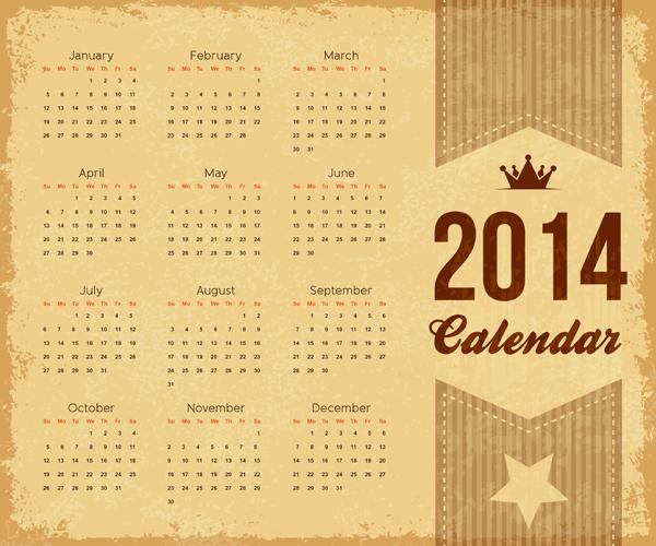 Free Vintage 2014 Brownie Calendar Template