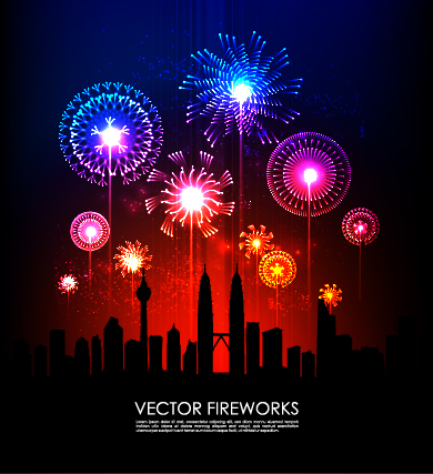 Free Colorful Firework Explosion with Silhouette City