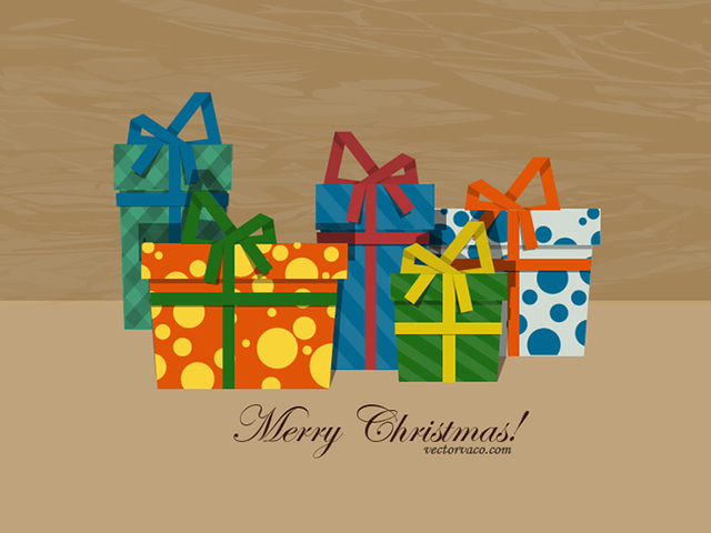 Free Vectors: Christmas Gift Boxes with Patterns | Vector