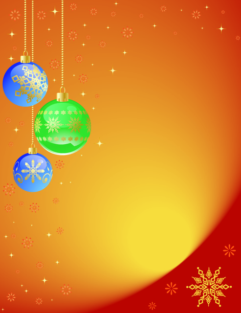 Free Orangey Decorated Xmas Background