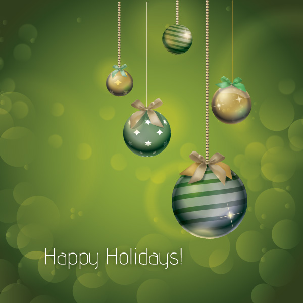 Free Olive Green Xmas Ornamental Holiday Card