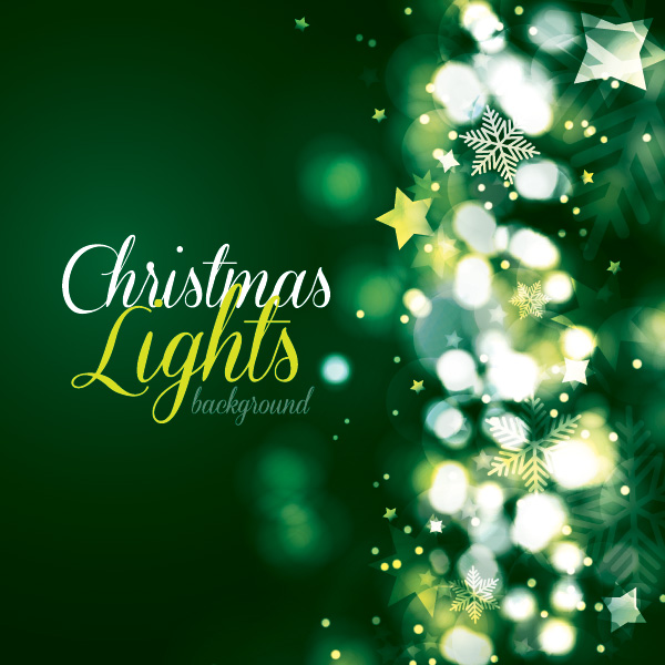 Free Green Christmas Card with Lights Background