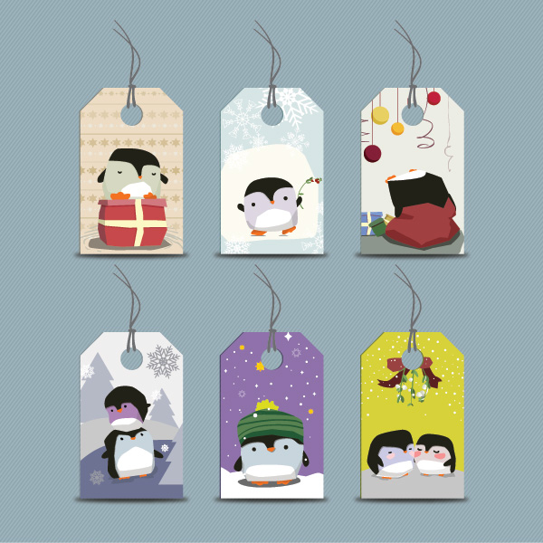 Free Vectors: Funky Seasonal Penguin Price Tag Set | Dryicons