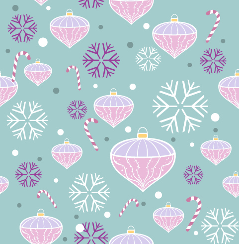 Free Vectors: Funky Seamless Pattern with Xmas Ornaments | All Vectors