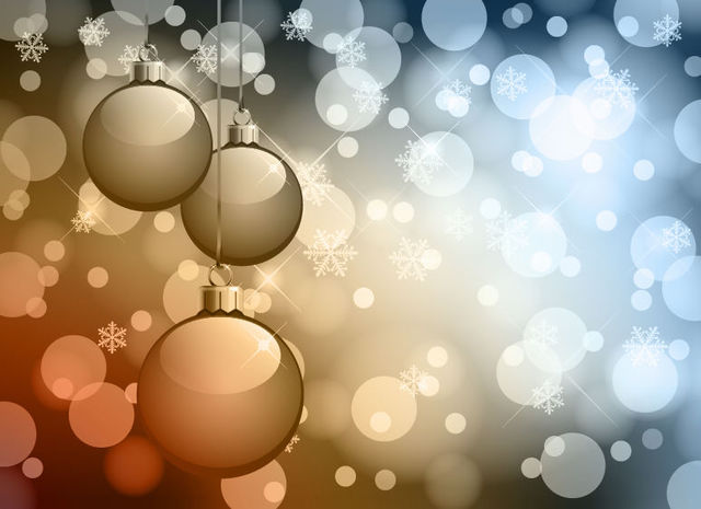 Free Christmas Balls with Glowing Lens Background