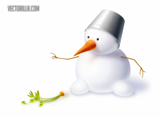 Free Cute Snowman with Carrot & Hat