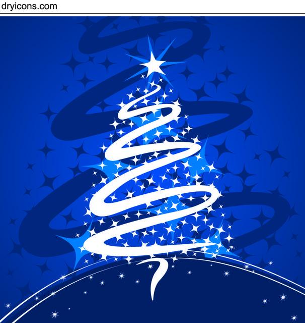 Free Xmas Tree Formed with Stars & Swirl