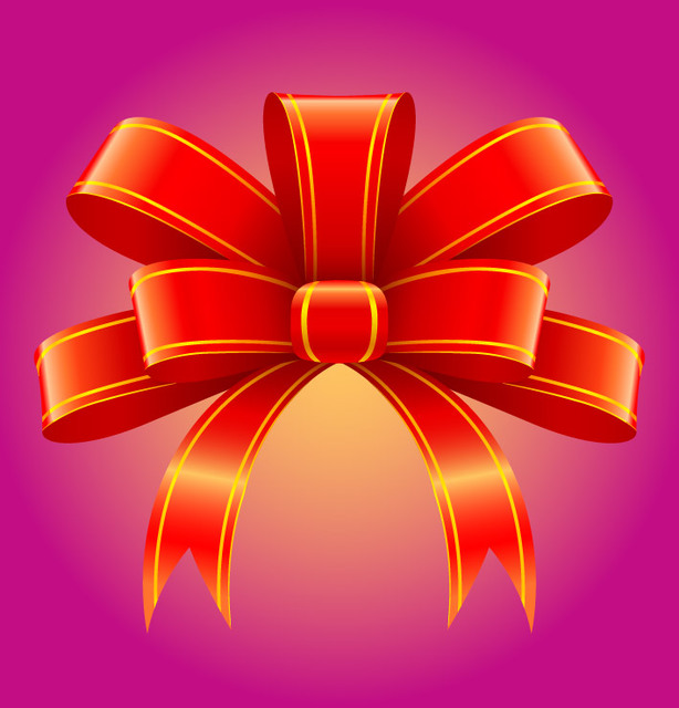 Free Red 3D Tied Ribbon Decoration
