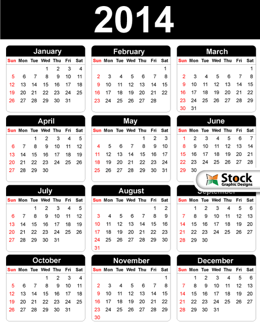 Free Black & White Simple 2014 Calendar