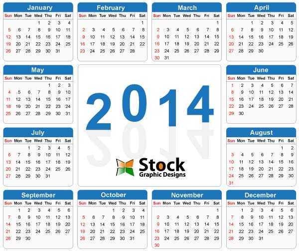 Free Vectors Template Blue Simple 2014 Calendar Stock Graphic Designs