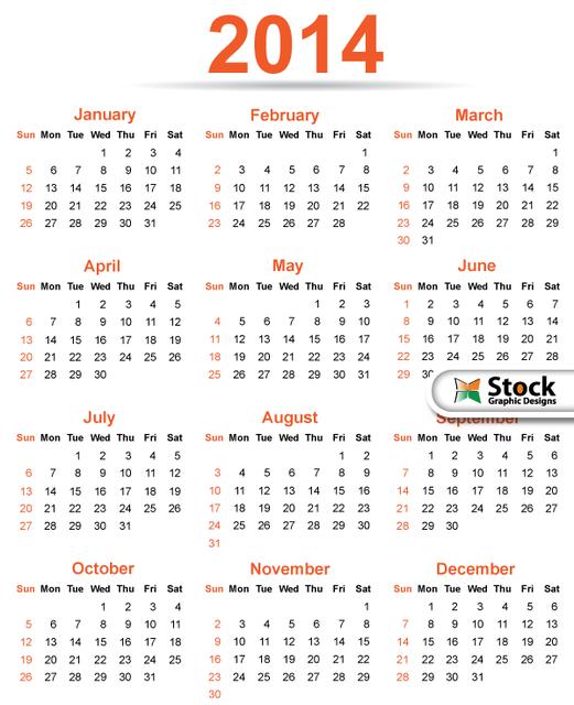 Free Simple & Classy Template 2014 Calendar