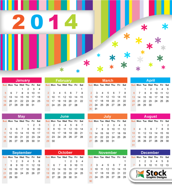 Free Colorful 2014 Calendar with Snowflakes